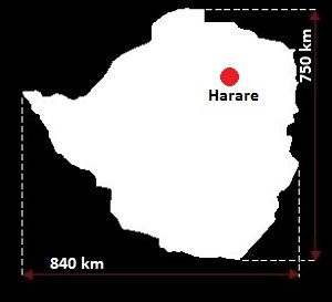 Stolica Zimbabwe - mapa