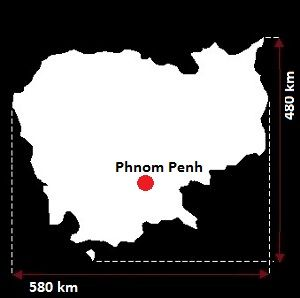 Kambodża wymiary