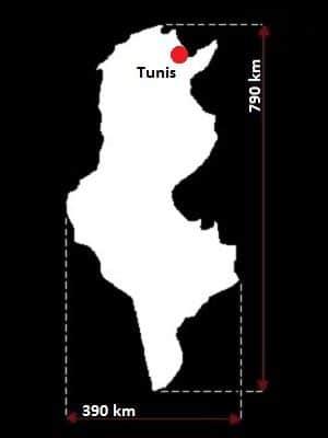 Tunezja wymiary