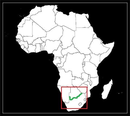 Granica Botswany z Republiką Południowej Afryki grafika